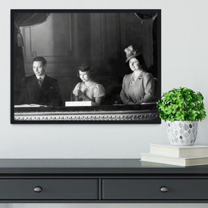 Queen Elizabeth II with her parents entranced viewing the stage Framed Print - Canvas Art Rocks - 2