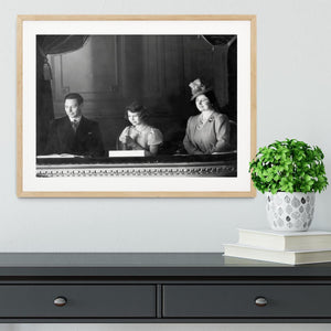 Queen Elizabeth II with her parents entranced viewing the stage Framed Print - Canvas Art Rocks - 3