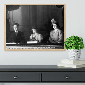 Queen Elizabeth II with her parents entranced viewing the stage Framed Print - Canvas Art Rocks - 4