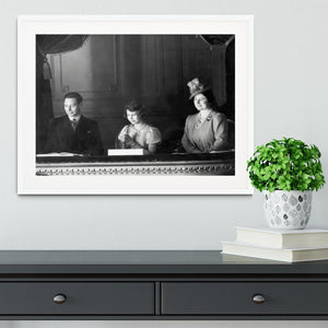 Queen Elizabeth II with her parents entranced viewing the stage Framed Print - Canvas Art Rocks - 5