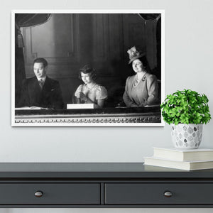 Queen Elizabeth II with her parents entranced viewing the stage Framed Print - Canvas Art Rocks -6