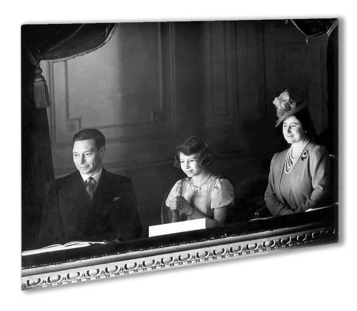 Queen Elizabeth II with her parents entranced viewing the stage Outdoor Metal Print