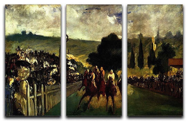 Race at Longchamp by Manet 3 Split Panel Canvas Print - Canvas Art Rocks - 1