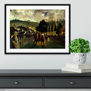 Race at Longchamp by Manet Framed Print - Canvas Art Rocks - 1