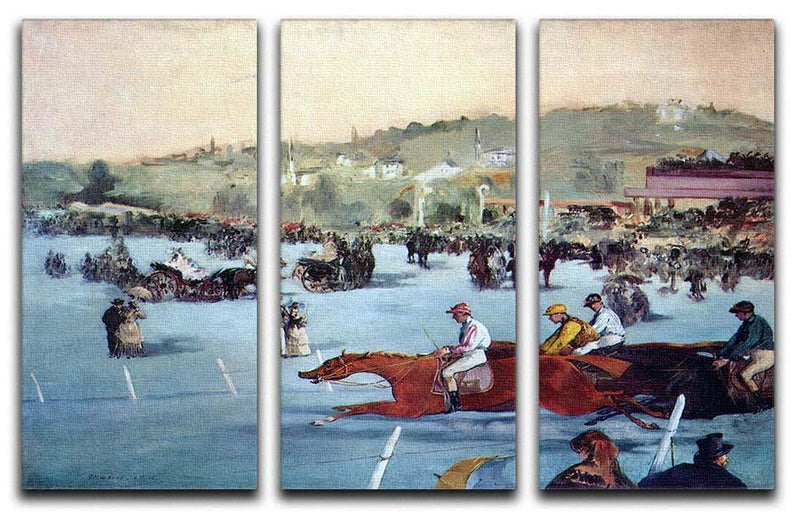 Races at the Bois de Boulogne by Manet 3 Split Panel Canvas Print - Canvas Art Rocks - 1
