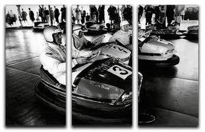 Racing drivers on the dodgems 3 Split Panel Canvas Print - Canvas Art Rocks - 1