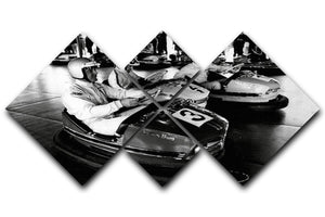 Racing drivers on the dodgems 4 Square Multi Panel Canvas  - Canvas Art Rocks - 1