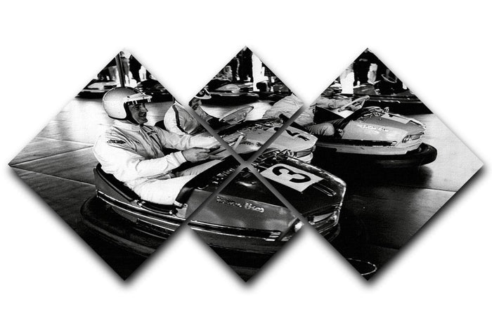 Racing drivers on the dodgems 4 Square Multi Panel Canvas