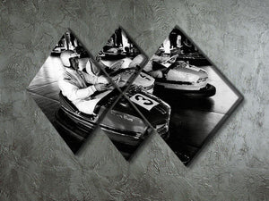 Racing drivers on the dodgems 4 Square Multi Panel Canvas - Canvas Art Rocks - 2