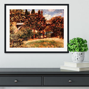 Railway bridge of Chatou by Renoir Framed Print - Canvas Art Rocks - 1