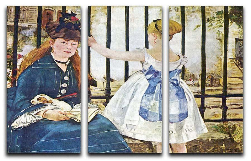 Railway by Manet 3 Split Panel Canvas Print - Canvas Art Rocks - 1