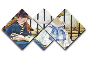 Railway by Manet 4 Square Multi Panel Canvas  - Canvas Art Rocks - 1