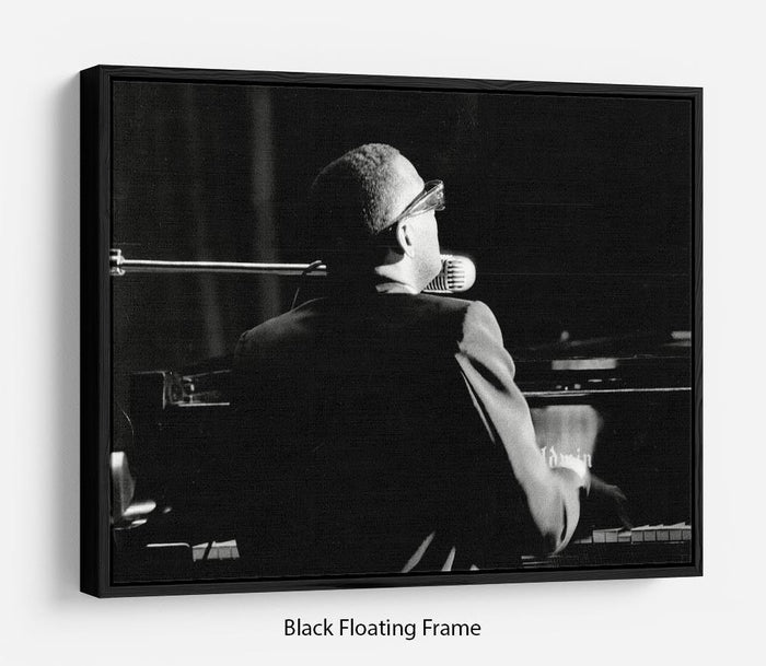 Ray Charles at the piano Floating Frame Canvas