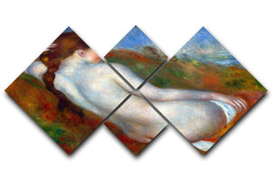 Reclining nude by Renoir 4 Square Multi Panel Canvas  - Canvas Art Rocks - 1