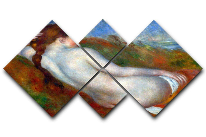 Reclining nude by Renoir 4 Square Multi Panel Canvas