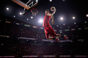 Red Basketball player in action Wall Mural Wallpaper - Canvas Art Rocks - 1