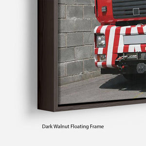 Red British fire engine Floating Frame Canvas