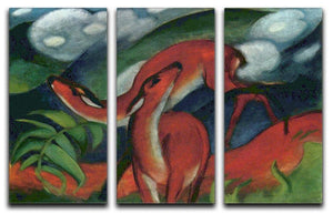 Red Deer II by Franz Marc 3 Split Panel Canvas Print - Canvas Art Rocks - 1