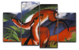 Red Deer II by Franz Marc 4 Split Panel Canvas  - Canvas Art Rocks - 1