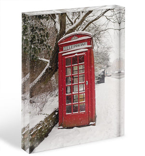 Red Telephone Box in the Snow Acrylic Block - Canvas Art Rocks - 1