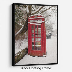 Red Telephone Box in the Snow Floating Frame Canvas - Canvas Art Rocks - 1