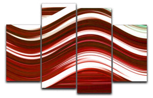 Red Wave 4 Split Panel Canvas - Canvas Art Rocks - 1
