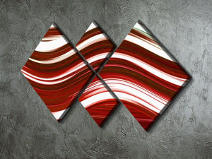 Red Wave 4 Square Multi Panel Canvas - Canvas Art Rocks - 2