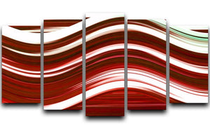 Red Wave 5 Split Panel Canvas - Canvas Art Rocks - 1