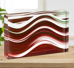 Red Wave Acrylic Block - Canvas Art Rocks - 2