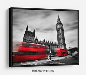 Red buses in motion and Big Ben Floating Frame Canvas