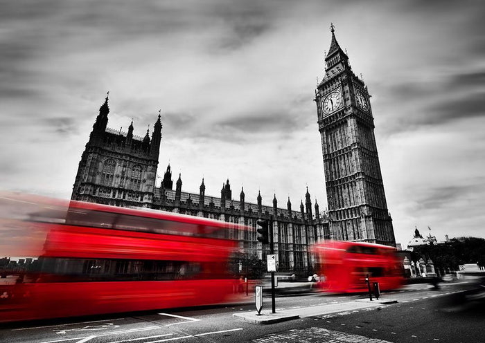 Red buses in motion and Big Ben Wall Mural Wallpaper