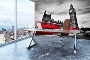 Red buses in motion and Big Ben Wall Mural Wallpaper - Canvas Art Rocks - 3
