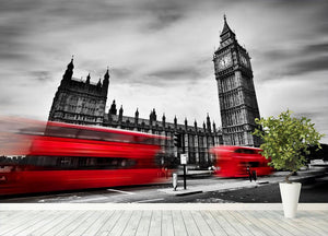 Red buses in motion and Big Ben Wall Mural Wallpaper - Canvas Art Rocks - 4