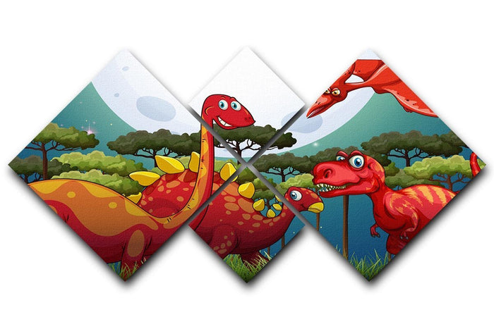 Red dinosuars under full moon 4 Square Multi Panel Canvas
