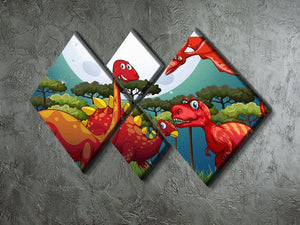 Red dinosuars under full moon 4 Square Multi Panel Canvas - Canvas Art Rocks - 2