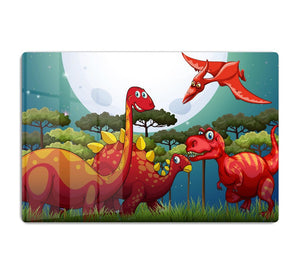 Red dinosuars under full moon HD Metal Print