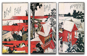 Red houses by Hokusai 3 Split Panel Canvas Print - Canvas Art Rocks - 1