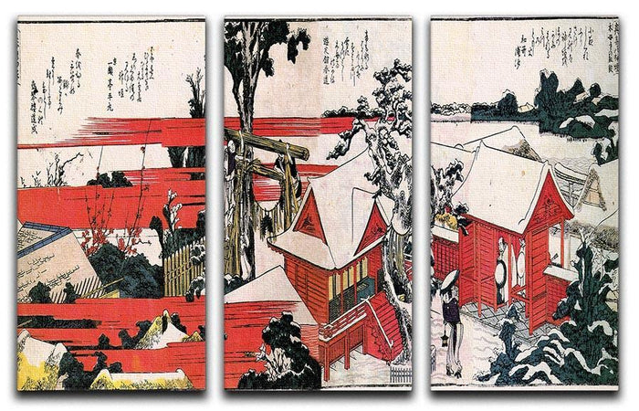 Red houses by Hokusai 3 Split Panel Canvas Print