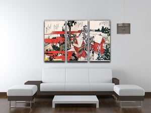 Red houses by Hokusai 3 Split Panel Canvas Print - Canvas Art Rocks - 3