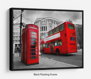 Red phone booth and red bus Floating Frame Canvas