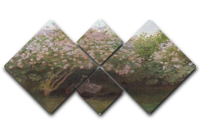 Repos sous les lilas 1872 by Monet 4 Square Multi Panel Canvas