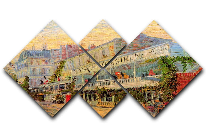 Restaurant de la Sirene at Asnieres by Van Gogh 4 Square Multi Panel Canvas