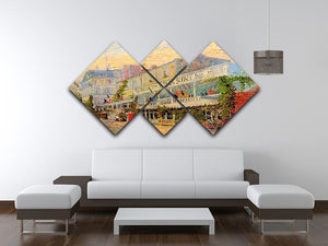 Restaurant de la Sirene at Asnieres by Van Gogh 4 Square Multi Panel Canvas - Canvas Art Rocks - 3