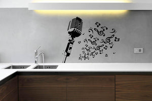 Retro Microphone With Notes Wall Sticker - Canvas Art Rocks