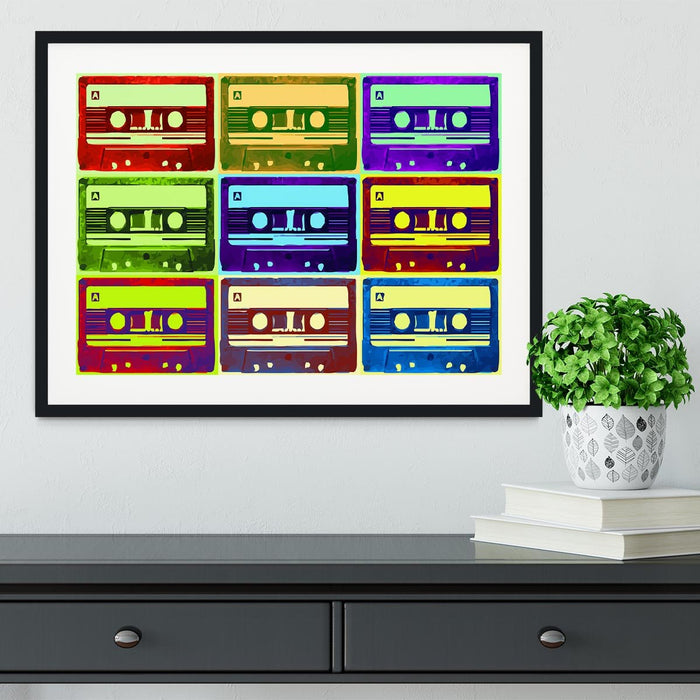 Retro Tape Cassettes Framed Print