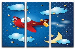 Retro airplane by night 3 Split Panel Canvas Print - Canvas Art Rocks - 1
