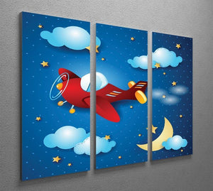 Retro airplane by night 3 Split Panel Canvas Print - Canvas Art Rocks - 2