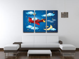 Retro airplane by night 3 Split Panel Canvas Print - Canvas Art Rocks - 3