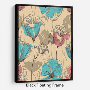 Retro floral seamless pattern Floating Frame Canvas