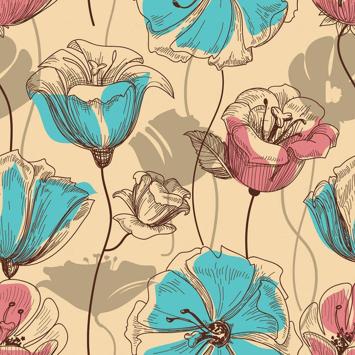 Retro floral seamless pattern Wall Mural Wallpaper